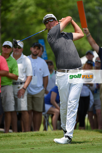 Roger Sloan (CAN) watches his tee shot on 3 during round 3 of the 2019 Charles Schwab Challenge, Colonial Country Club, Ft. Worth, Texas,  USA. 5/25/2019.<br /> Picture: Golffile | Ken Murray<br /> <br /> All photo usage must carry mandatory copyright credit (© Golffile | Ken Murray)