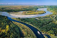 Aerial of Fairbanks, Alaska, Tanana and Chena River confluence, Alaska mountain range on horizon, Mt. Denali visible on the right, sternwheeler river boat discovery on the Chena River.