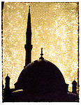 The Citadel Mosque minaret in Cairo, Egypt..This is a Polaroid transfer print.
