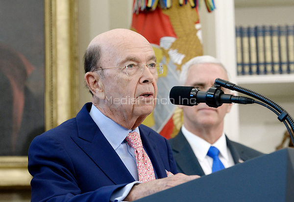 United States Secretary of Commerce Wilbur Ross speaks about trade in the Oval Office of the White House March 31, 2017 in Washington, DC. <br /> Credit: Olivier Douliery / Pool via CNP /MediaPunch