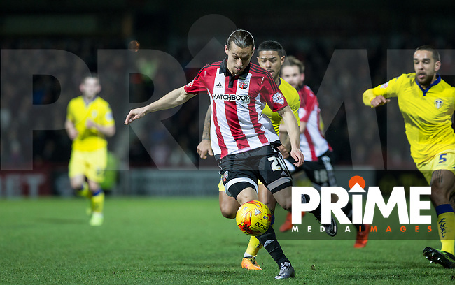 Lasse Vibe of Brentford during an attack during the Sky Bet Championship match between Brentford and Leeds United at Griffin Park, London, England on 26 January 2016. Photo by Andy Rowland / PRiME Media Images.