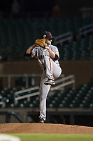 Scottsdale Scorpions relief pitcher Chase Johnson (31), of the San Francisco Giants organization, delivers a pitch during an Arizona Fall League game against the Salt River Rafters at Salt River Fields at Talking Stick on October 11, 2018 in Scottsdale, Arizona. Salt River defeated Scottsdale 7-6. (Zachary Lucy/Four Seam Images)