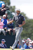 Dustin Johnson (USA) smiles after making a birdie putt on the 7th hole during the second round of the 118th U.S. Open Championship at Shinnecock Hills Golf Club in Southampton, NY, USA. 15th June 2018.<br /> Picture: Golffile | Brian Spurlock<br /> <br /> <br /> All photo usage must carry mandatory copyright credit (&copy; Golffile | Brian Spurlock)