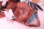 Monkfish displayed on ice of fishmonger stall, Mercado San Miguel market, Madrid city centre, Spain