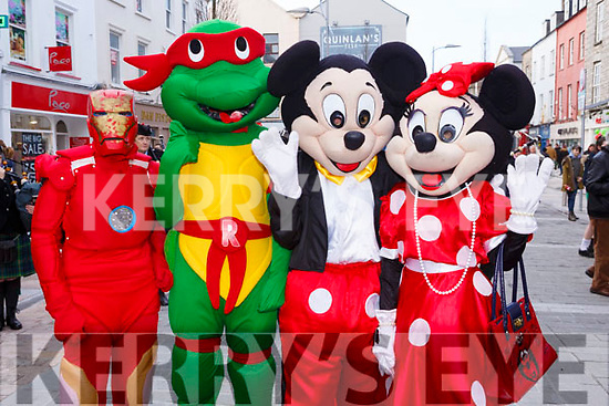 Entertaining the kids of all ages at the Kerry County Council and Tralee Chamber Alliance will Street Party and Family Fun Day in The Mall on Saturday last are l to r, Iron Man - Katie O'Halloran, Donatello - Jamie O'Regan, Mickey Mouse - Shane Duggan and Minnie Mouse - Emer Ford.