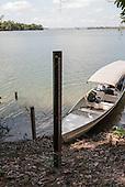 Xingu River, Para State, Brazil. Researcher's boat.