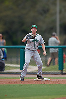 Dartmouth Big Green first baseman Michael Calamari (3) waits to receive a throw during a game against the USF Bulls on March 17, 2019 at USF Baseball Stadium in Tampa, Florida.  USF defeated Dartmouth 4-1.  (Mike Janes/Four Seam Images)