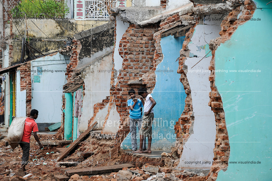 INDIA Odisha Orissa Raygada, by police demolished houses to broaden the road