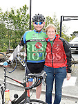 Andrew Grogan and Emer Fogarty pictured at the start of the D2K cycle from Dunleer to Kilkenny and back in aid of Motor Neurone Disease. Photo:Colin Bell/pressphotos.ie