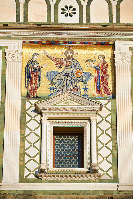The Romanesque marble facade & mosaic begun in about 1090 of San Miniato al Monte (St. Minias on the Mountain) basilica , Florence, Italy.