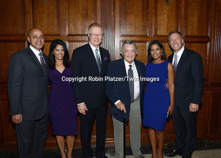 David Ushery, Darlene Rodriguez, honoree Chuck Scarborough,Gavew Pressman, Sibila Vargas and Michael Gargiulo  attend the Library of American Broadcasting Annual Giants of Broadcasting Luncheon on October 16, 2014 at Gotham Hall in New York City.<br /> <br /> photo by Robin Platzer/Twin Images<br />  <br /> phone number 212-935-0770