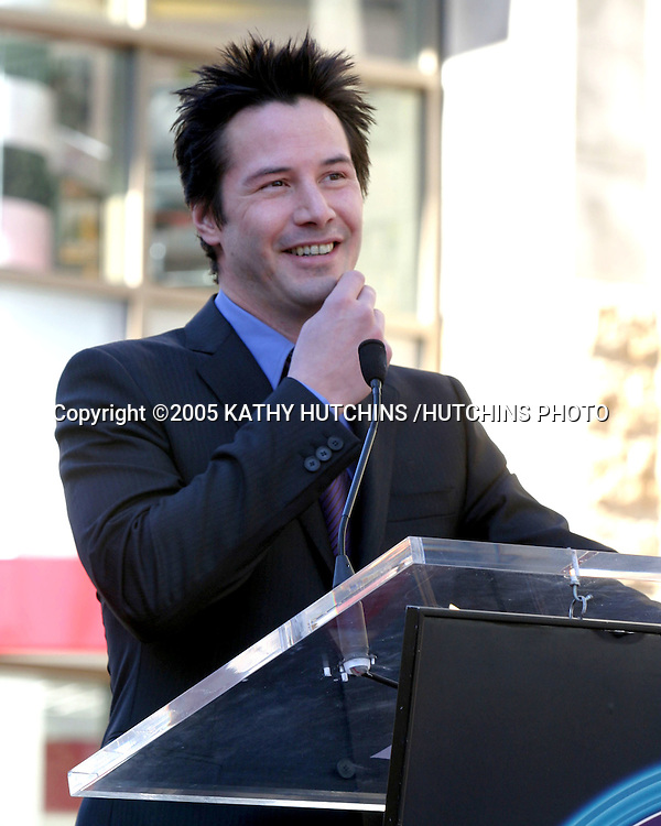 ©2005 KATHY HUTCHINS /HUTCHINS PHOTO.KEANU REEVES RECEIVES A STAR ON THE HOLLYWOOD WALK OF FAME.HOLLYWOOD, CA.JANUARY 31, 2005..KEANU REEVES
