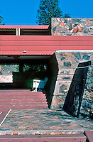 F.L. Wright: Taliesin West. Terrace, Entrance.  Photo '77.
