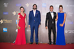 Luis Garcia (necktie) and his wife Katerine (blue dress), Xavier Asensi Brufau (purple handkerchief), and Jenny Yang (red dress) walk the Red Carpet event at the World Celebrity Pro-Am 2016 Mission Hills China Golf Tournament on 20 October 2016, in Haikou, China. Photo by Marcio Machado / Power Sport Images