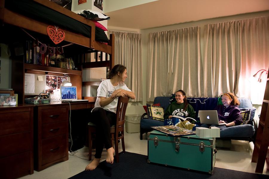 Students in a Ryan Hall dorm room, 2009..Photo by Matt Cashore/University of Notre Dame