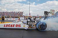 Sep 25, 2016; Madison, IL, USA; NHRA top fuel driver Richie Crampton during the Midwest Nationals at Gateway Motorsports Park. Mandatory Credit: Mark J. Rebilas-USA TODAY Sports