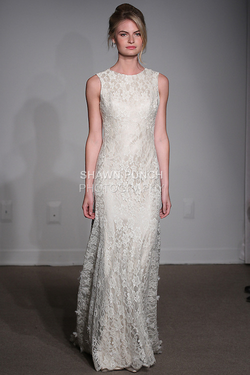 "Model walks runway in a Constance bridal gown from the Anna Maier Couture Spring 2016 ""Collection 43"" during New York Bridal Fashion Week Spring 2016."