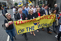 Shadow chancellor John McDonnell joins members of the PCS and UVW Trade Unions outside the Ministry of Justice in Westminster. They were demanding a living wage for the cleaning staff. 5-9-18