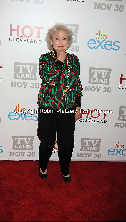 "Betty White attends the TV Land Party for the  premieres of ""Hot In Cleveland"" and ""The Exes""  on November 29, 2011 at SD26 in New York City. the party also celebrated Toys for Tots."