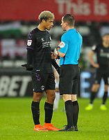 2nd January 2020; Liberty Stadium, Swansea, Glamorgan, Wales; English Football League Championship, Swansea City versus Charlton Athletic; Referee Peter Bankes speaks with Lyle Taylor of Charlton Athleic - Strictly Editorial Use Only. No use with unauthorized audio, video, data, fixture lists, club/league logos or 'live' services. Online in-match use limited to 120 images, no video emulation. No use in betting, games or single club/league/player publications