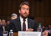 """Nick Pickles, Public Policy Director, Twitter testifies before the United States Senate Committee on Commerce, Science and Transportation on """"Mass Violence, Extremism, and Digital Responsibility"""" on Capitol Hill in Washington, DC on Wednesday, September 18, 2019.<br /> Credit: Ron Sachs / CNP"""