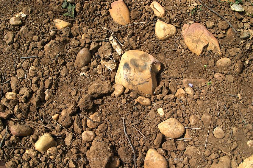 soil detail sandy soil vineyard le cellier des princes chateauneuf du pape rhone france