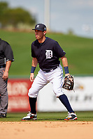 Detroit Tigers second baseman Ian Kinsler (3) during an exhibition game against the Florida Southern Moccasins on February 29, 2016 at Joker Marchant Stadium in Lakeland, Florida.  Detroit defeated Florida Southern 7-2.  (Mike Janes/Four Seam Images)