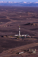 "Aerial pictures of oil drilling pads in the Jonah field where the landscape is dotted with active and reclaimed sites.  Wyoming's Red Desert was included in The Wilderness Society's list of ""15 Most Endangered Wildlands"" because of a boom in the already massive oil and gas development in the wild heart of the 600,000 acres. ..20-acre well spacing in parts of the field is currently under evaluation by field operators. Exploitation of this potential will require further engineering evaluation, but also approval by the Wyoming Oil and Gas Conservation Commission as well as the BLM."