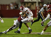 Hawgs Illustrated/BEN GOFF <br /> Levi Wallace, Alabama cornerback, tackles Deon Stewart, Arkansas wide receiver, after a catch in the second half Saturday, Oct. 14, 2017, at Bryant-Denny Stadium in Tuscaloosa, Ala.