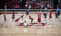 STANFORD, CA - November 2, 2018: Meghan McClure, Jenna Gray, Morgan Hentz, Tami Alade, Kathryn Plummer, Audriana Fitzmorris at Maples Pavilion. No. 1 Stanford Cardinal defeated No. 15 Colorado Buffaloes 3-2.