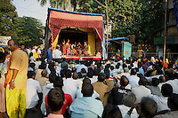 Ram Leela - the story of Lord Ram is performed as a street play during the week preceding the anniversary of his triumph over Ravan on Dassera day.  This folk performance is popular among North Indian Hindus. Seen here is the final act of the Ram Leela which ends with the burning of Ravan's effigy. Location - Khar, Mumbai.