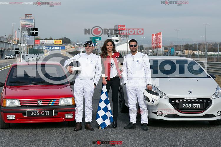 Lara Alvarez, Jesus Castro and Fernando Guillen Cuervo during the presentation of new Peugeot 208 GTI at Jarama Circuit in Madrid, Spain. January 20 2015. (ALTERPHOTOS/Carlos Dafonte) /NortePhoto<br /> NortePhoto.com