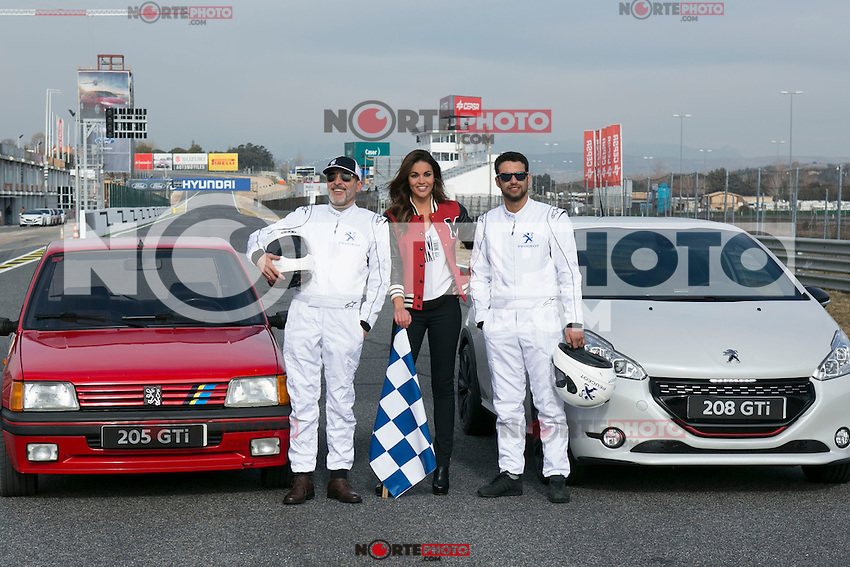 Lara Alvarez, Jesus Castro and Fernando Guillen Cuervo during the presentation of new Peugeot 208 GTI at Jarama Circuit in Madrid, Spain. January 20 2015. (ALTERPHOTOS/Carlos Dafonte) /NortePhoto<br />