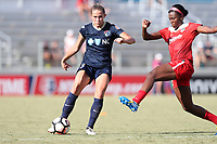 Cary, North Carolina  - Saturday August 19, 2017: Abby Dahlkemper and Cheyna Williams during a regular season National Women's Soccer League (NWSL) match between the North Carolina Courage and the Washington Spirit at Sahlen's Stadium at WakeMed Soccer Park. North Carolina won the game 2-0.