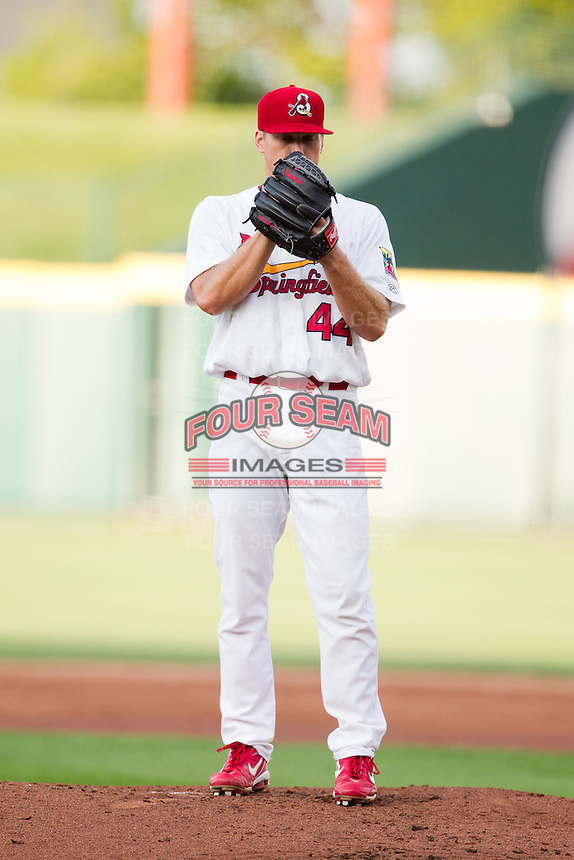 Trevor Rosenthal (44) of the Springfield Cardinals stands on the mound during a game against the Arkansas Travelers at Hammons Field on June 13, 2012 in Springfield, Missouri. (David Welker/Four Seam Images)