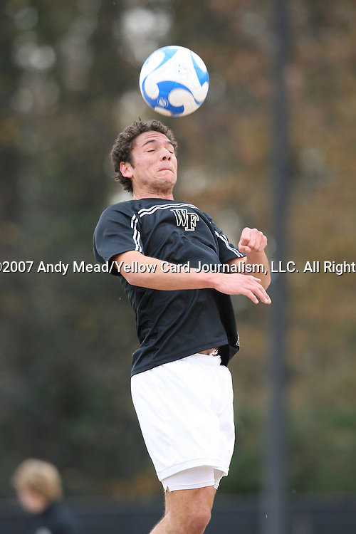 02 December 2007: Wake Forest's Julian Valentin. The Wake Forest University Demon Deacons defeated the West Virginia University Mountaineers 3-1 at W. Dennie Spry Soccer Stadium in Winston-Salem, North Carolina in a Third Round NCAA Division I Mens Soccer Tournament game.