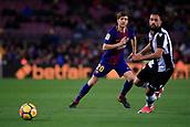 7th January 2018, Camp Nou, Barcelona, Spain; La Liga football, Barcelona versus Levante; Sergi Roberto of FC Barcelona passes of the ball before the tackle