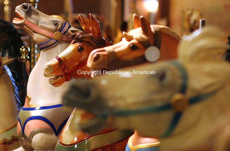 BRISTOL, CT- 30 MARCH 2007 - 033007JW04.jpg -- A display of carousel horses at the New England Carousel Museum. Jonathan Wilcox Republican-American