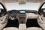 Stock photo of straight dashboard view of a 2019 Mercedes Benz C Class Break Avantgarde 5 Door Wagon