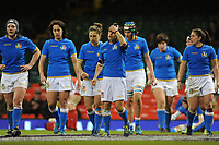 Italy&rsquo;s Sara Barattin looks dejected after Wales score there first try <br /> <br /> Photographer Ian Cook/CameraSport<br /> <br /> 2018 Women's Six Nations Championships Round 4 - Wales Women v Italy Women - Sunday 11th March 2018 - Principality Stadium - Cardiff<br /> <br /> World Copyright &copy; 2018 CameraSport. All rights reserved. 43 Linden Ave. Countesthorpe. Leicester. England. LE8 5PG - Tel: +44 (0) 116 277 4147 - admin@camerasport.com - www.camerasport.com