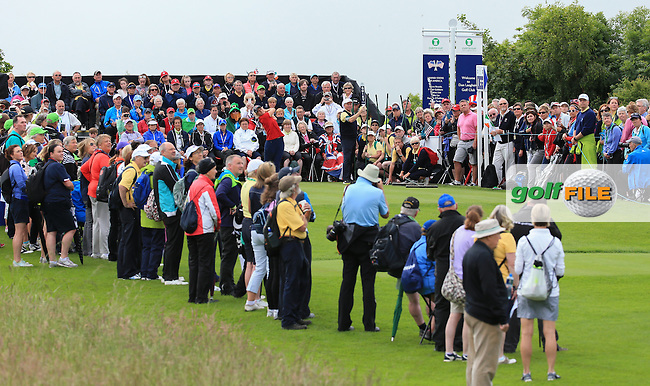 View of the first tee during the Sunday Singles at the 2016 Curtis Cup, played at Dun Laoghaire GC, Enniskerry, Co Wicklow, Ireland. 12/06/2016. Picture: David Lloyd | Golffile. <br /> <br /> All photo usage must display a mandatory copyright credit to &copy; Golffile | David Lloyd.