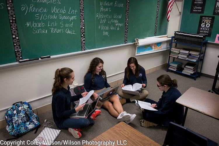 Notre Dame Academy students in their learning environments at the high school in Green Bay, Wis., on March 23, 2017.