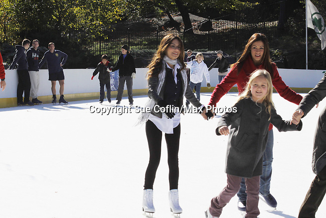 """Oral-B-Glide, along with General Hospital star Vanessa Marcil Giovinazzo, are kicking off the """"Glide Into The Holidays"""" program benefitting Operation Smile by offering a day of free skating on Novermber 11, 2010 at New York's Wollman Rink in Central Park, New York City, New York. (Photo by Sue Coflin/Max Photos)"""