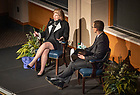 February 7, 2019; Award-winning journalist Nina Totenberg answers questions about her career covering the Supreme Court and legal affairs for NPR from moderator and Notre Dame Law School Professor Randy Kozel  in Downes Ballroom of Corbett Hall.  (Photo by Barbara Johnston/University of Notre Dame)
