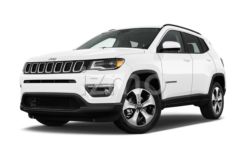 Stock pictures of low aggressive front three quarter view of 2017 JEEP Compass Latitude 5 Door SUV Low Aggressive