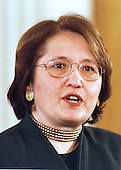 "Melanne Verveer, Chief of Staff to First Lady Hillary Rodham Clinton, introduces the opening video at the ""White House Conference on Teenagers: Raising Responsible and Resourceful Youth"" in Washington, DC on 2 May, 2000.<br /> Credit: Ron Sachs / CNP"