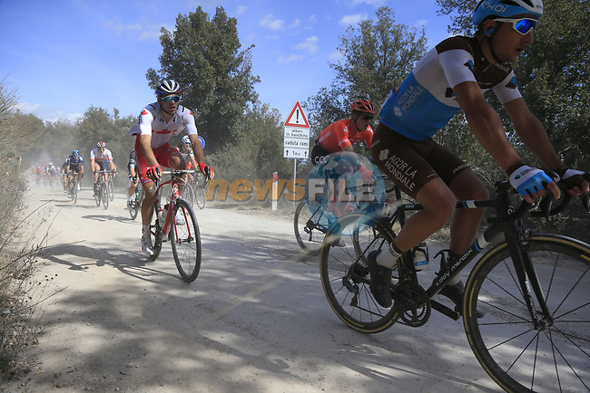 The peloton including Nans Peters (FRA) AG2R La Mondiale on sector 3 Radi during Strade Bianche 2019 running 184km from Siena to Siena, held over the white gravel roads of Tuscany, Italy. 9th March 2019.<br /> Picture: Eoin Clarke   Cyclefile<br /> <br /> <br /> All photos usage must carry mandatory copyright credit (© Cyclefile   Eoin Clarke)