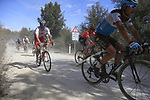 The peloton including Nans Peters (FRA) AG2R La Mondiale on sector 3 Radi during Strade Bianche 2019 running 184km from Siena to Siena, held over the white gravel roads of Tuscany, Italy. 9th March 2019.<br /> Picture: Eoin Clarke | Cyclefile<br /> <br /> <br /> All photos usage must carry mandatory copyright credit (© Cyclefile | Eoin Clarke)