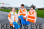 Members of the Tralee Youth Reach Programme helping with the clean up of the Tralee Bay area on Thursday morning. L to r: Sophie Morris, Codie Cenalia and Sara Conway.