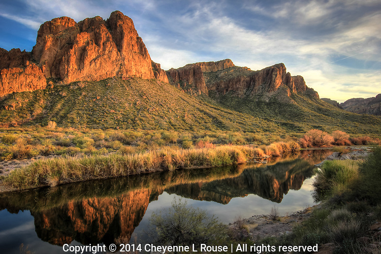 Golden Hour Sunset - Arizona - River reflection - Tonto National Forest